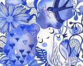 """In the Blue Clouds... original watercolor... 10"""" x 14"""" in... (26 x 36cm)"""