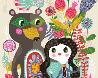 Bear with me, Sweetheart... - limited edition giclee print of an original illustration (8 x 10 in)