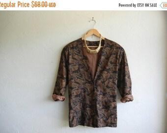 30% OFF HOLIDAY SALE Vintage 1980s Boyfriend Fit Pheasant Print Blazer