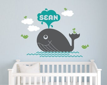 Whale Name Wall Decal: Personalized Water Spout Baby Nursery Whale Theme Ocean Sea Life Big Fish Orca Cute Kids Under the Sea Room