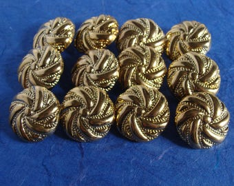 Set of 12  Gold Colored Shank Buttons - 23mm, 7/8 inch  - Downsizing SALE  Must Go!