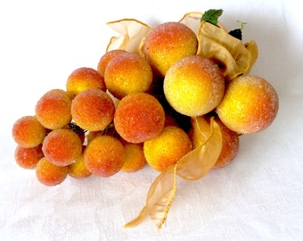 Large Grapes Cluster Gold and Orange Vintage with Ribbon