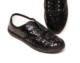 Sequin - CVO Seaweed Tiny Sequins Black on Black Sneaker Tennis Shoes