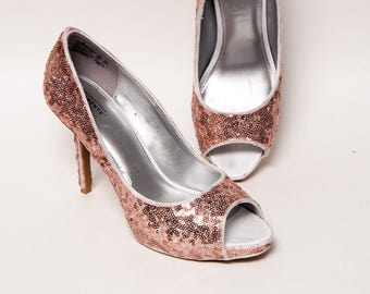 Sequin - Rose Gold Toe Stiletto Peep Toe Dress Summer High Heels