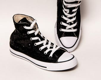 Tiny Sequin - Starlight Black and White Hi Top Converse Sneakers Canvas Shoes