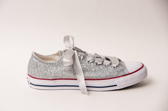 high-quality Glitter Silver Canvas Converse All Star Low Top Sneakers