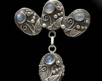 Arts & Crafts SS Moonstone Pin Pendant Locket Brooch,  Arts and Crafts Sterling Silver Moonstone Brooch with Pendant Locket Vintage 1900