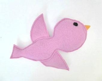 Bird Soft Toy - Woodland Animal - Baby Girl Gift - Girls Room Decor - Nursery Decor - Baby Reveal - Babyshower Gift - Pink Bird.