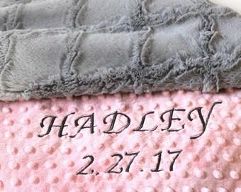 Minky Girl Baby Blanket, Pink Gray Lattice Personalized Baby Blanket - Nursery Decor Girl // Minky Baby Blanket // Name Baby Blanket