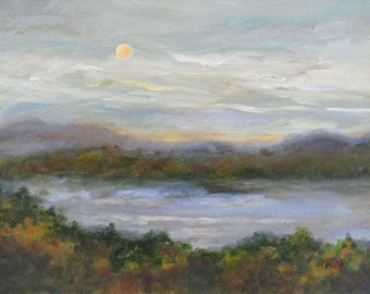 Painting Landscape Lake Original, Original Painting,  Wall Art, Oil Painting, Landscape Painting