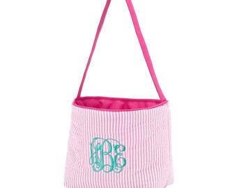 Easter, basket, seersucker, monogram, pink, blue, boy, girl, bucket, personalized, eggs, container, hunt