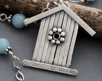 Birdhouse necklace sterling silver light blue amazonite necklace unique bird house handmade pendant jewelry natural stone nature jewelry