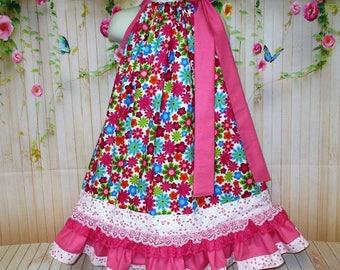 Girls 5/6 Pillowcase Pink Flower Dress, Pillowcase dress, Pillow Case Dress, Sundress