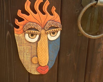 Abstract Ceramic Mask called Monday-Picasso inspired wall mask