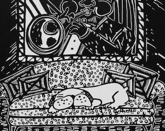 Satchmo linoleum print by Coco Berkman Dogs on Sofas series