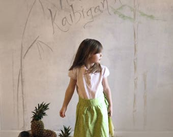 Bright Green Skirt, Pom-pom Skirt, Tropical Wrap-around Skirt, Wrap-around Skirt, Summer Skirt, Girls' Size 4 - 6*