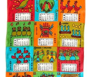 Vintage Calendar Towel MOD Birds Lamont Linen 1972 Twelve Days of Christmas