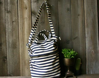 Beach Bag Tote Navy And White Stripes Woven Market Bag / Athletic /Vintage From Nowvintage on Etsy