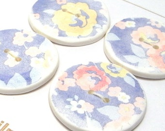 Handmade Round Buttons White with Blue Flower Pattern  30mm