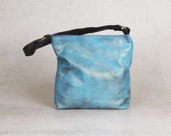 blue fabric bag - vegan hobo bag - blue bag - blue purse - hobo handbag - small hobo bag by Badimyon