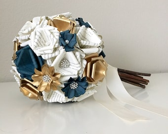 Navy Blue and Gold Harry Potter Celine Book Page Rhinestone Bouquet