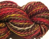 Handspun yarn Burning Down The House worsted weight  2 ply, 288 yards hand dyed BFL wool red yellow yarn knitting supplies crochet supplies