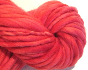 Super Bulky Handspun Yarn Almost Solid Red 60 yards thick n thin hand dyed wool red yarn waldorf doll knitting supplies crochet supplies