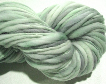 Super Bulky Handspun Yarn Almost Solid Sage 84 yards hand dyed merino wool sage green yarn knitting supplies crochet supplies