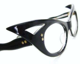 Vintage 50's Black French Cat Eye Glasses Eyeglasses or Sunglasses Frame