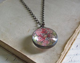 Vintage Handkerchief Necklace Stained Glass Bubble Jewelry Pink Flowers