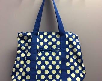Personalized Oversized Tote Bag Royal Blue Polka Dot