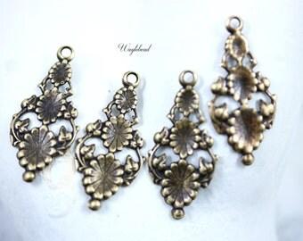 Vintage Style Art Nouveau 29x14mm Antiqued Brass Floral Vine Charms Pendants Drops - 4