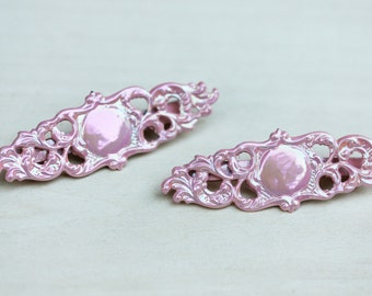 Vintage Pink Filigree Hair Clip Set