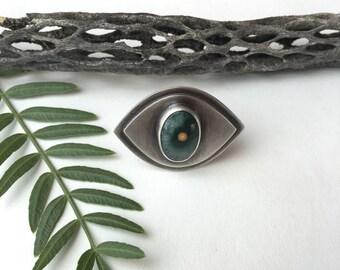 Ocean Jasper Eye Talisman Ring 6.5