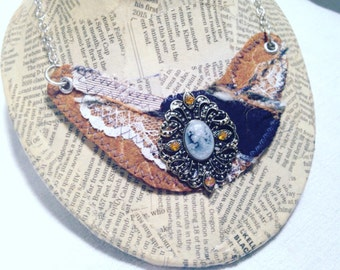 Adjustable Statement Necklace with Cameo, Fabric, Lace, Felt, and Silver Toned Chain