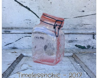 Canister - Glass Canister - Vintage Canister -  Pink Canister - Sugar Canister - Kitchen Canister - Flour Canister - Pink Glass Canister -
