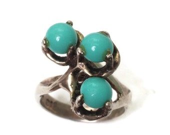 Modernist Simulated Turquoise Sterling Ring Mexico Mexican Vintage