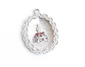 Sterling Birthday Cake Charm Red Rhinestones Enamel Candle Engraved Vintage