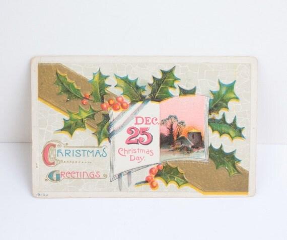 Antique Christmas Day Postcard Christmas Greetings 1913