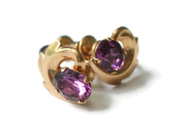 Amethyst Glass Gold Filled Earrings Van Dell Signed Vintage Screw Back