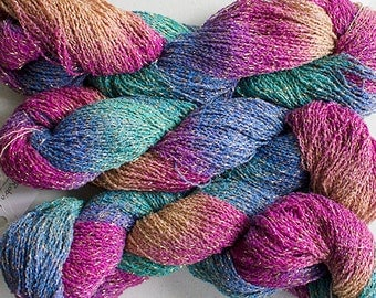 Sparkle, Hand painted fine cotton/metallic yarn, 300 yds - Aurora