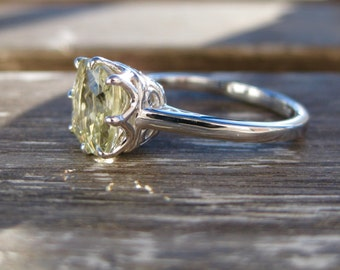 Cushion Cut Lemon Quartz Engagement Ring in 18K White Gold with Scrolls on Basket Size 5