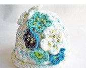 HOLIDAY SALE - Hand Knit Baby Hat, Crochet Flowers, Cotton Yarn White, Turquoise, Aqua Blue, Size 3 - 6 mos
