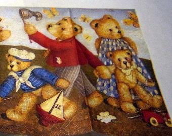 Decoupage Napkins,  vintage paper napkins, teddybears catching butterflies.