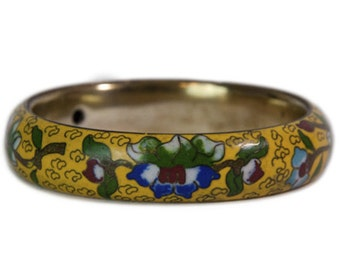Vintage Cloisonne Yellow with Blue Red Green and White Floral Flower Motif Oriental Vintage Bangle Bracelet