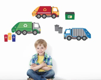Garbage Truck & Recycling Truck Wall Decals, Matte Fabric Peel and Stick Repostionable Eco-friendly Wall Decal Stickers
