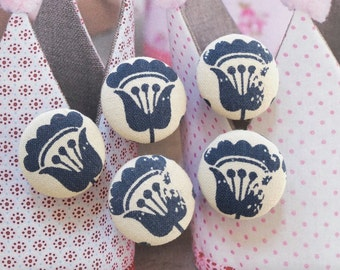 Retro French France Blue Simple Tulip Floral Flowers-Handmade Fabric Covered Buttons(0.98 Inches, 5PCS)