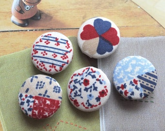 Retro France French Blue Red Country Floral Flower Stripe Patchwork-Handmade Fabric Covered Buttons(0.87 Inches, 5PCS)