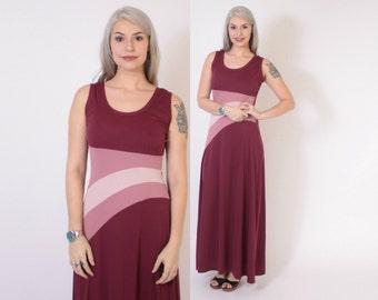 Vintage 70s Maxi DRESS / 1970s Burgundy & Pink Striped Sleeveless Glam Dress S