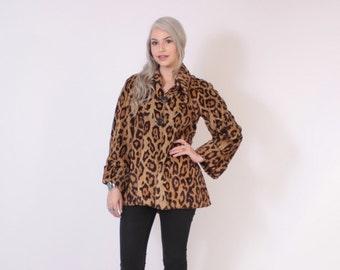 Vintage 60s Faux Fur Coat / 1960s Velvety Soft Leopard Print Glam Swing Jacket